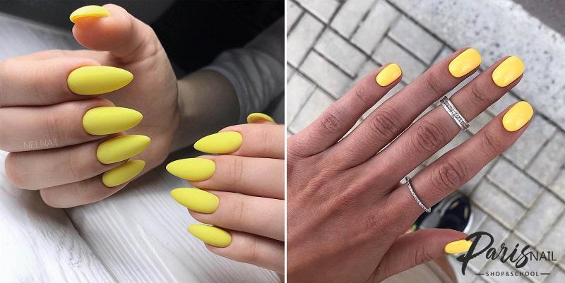 Желтый гель-лак на длинных и коротких ногтях весной